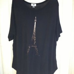 Old Navy T-Shirt with gold Eiffel tower/ Size XXL